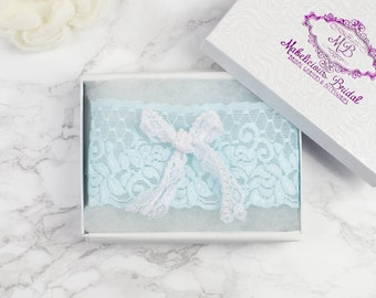 Bridal Garter -  NEW Simply 'Bow' Chic Ivory or Something Blue Garter - The Original Simply Chic Garter