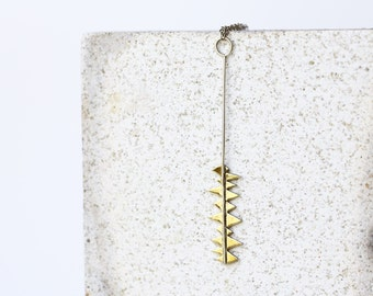 Irregular necklace, Brass and silver necklace, Sterling silver and brass,  handmade metalwork, irregular pendant