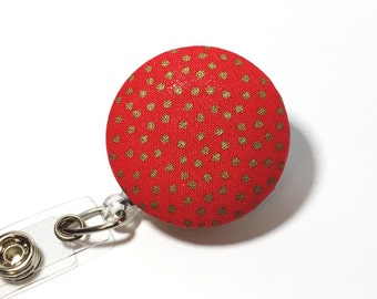 Red and gold Name badge Valentine Retractable Badge Reel badge reel nurse badge reel badge holder id badge holder nurse badge clip