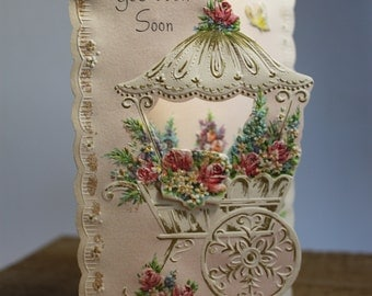 Vintage Get Well Card/antique Get Well Card/ Shabby Chic card/
