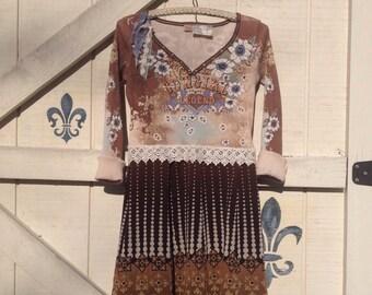 Cowgirl gypsy dress, tunic, S horse theme, lagan styel, Western Ranch, Gypsy cowgirl, by ShabyVintage