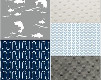Fishing Patchwork Blanket- Fish, Navy Fish Hooks, Light Blue Broken Chevron, Navy Minky, and Gray Minky Baby Blanket