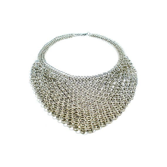 European 4 in 1 Chainmail Necklace - Oxidized Silver