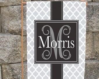 Personalized Monogram Garden or House Flag Family Name Custom Quatrefoil Lattice Design Any Color Gift