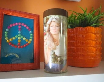 Vintage 1970s Retro Groovy Farrah Fawcett Charlies Angels Thermo Serv Tumbler Cup - Blue Jeans with Flower