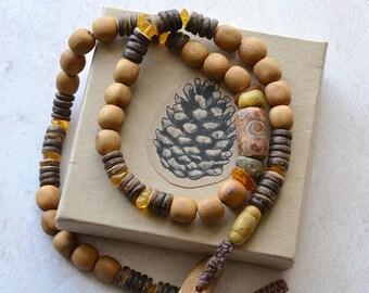 NATURAL - Wooden necklace - Juniper Beads - Raw Amber - Men's Jewellery
