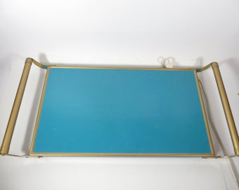 Mid Century Turquoise Food Warming Tray - Vintage Hot Butler Hot Plate