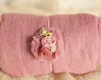 2  item Dusty Rose Mauve swaddle wrap set w length choice  100% cotton Dusty Mauve swaddle+ Cute headband w berries newborn swaddle wrap set