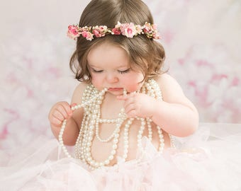 Magical in Pinks Blush pinks, cream babies breath floral headwreath head halo for newborns babies  soft pinks Newborn Baby Headband Halo