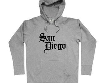 San Diego Gothic Hoodie - Men S M L XL 2x 3x - Gift For Men, Gift for Her, San Diego Hoodie, SD Hoodie, California, Gothic Text, Baseball