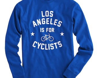 LS Los Angeles is for Cyclists Tee - Long Sleeve T-shirt - Men S M L XL 2x 3x 4x - Bicycle Shirt, Cycling Shirt, Los Angeles Shirt, Bike Tee