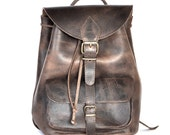Rustic Brown leather backpack Medium / Women/Men leather backpack / Leather rucksack