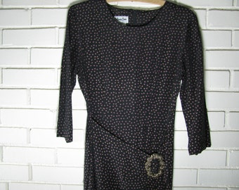 Vtg black faux wrap wiggle dress size 4-5 with purple and metallic gold spots