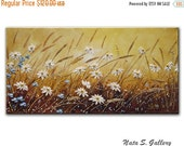"Daisy Art Original Painting Wildflower Field Abstract Daisy Textured Artwork Interior Decor Small Art Painting 24"" x 12""- by Nata S."