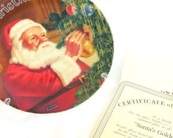 """1987 Norman Rockwell Christmas Plate """" Santa's Golden Gift  """" Vintage, Home Decor, Holiday Decoration Collectible Plate"""