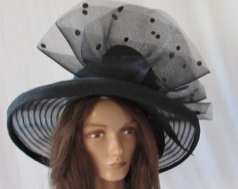 Black Straw Hat Hollywood Chic High Fashion Vintage Designer Wedding Church Party HAT