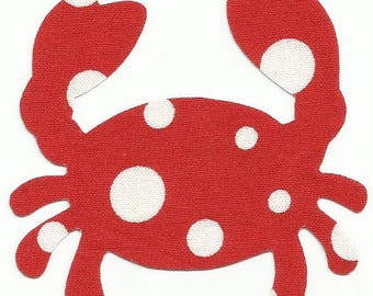 Red w/White Polka Dots Crab Fabric Iron on Appliques ~ No Sew