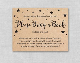 Printable Baby Shower Bring a Book Insert, Kraft Paper Book Request Book Card, Bring a Book Instead of Card Insert, Gender Neutral