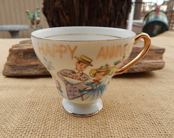Norcrest Fine China Happy Anniversary Tea Cup  ~  Happy Anniversary Cup  ~  Norcrest Happy Anniversary Cup  ~  Adorable Anniversary Cup