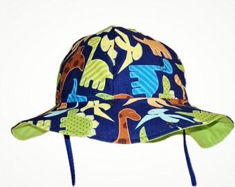 Baby Sun Hat, Baby Boy Sun Hat, Summer Hat, Baby Hat, Toddler Dinosaur Hat, Newborn Hat, Cotton Hat, Floppy Beach Hat, Made to Order
