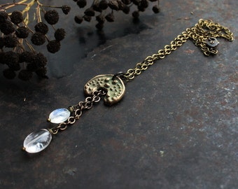 Maiden of the Moon -bronze clay crescent necklace, moon necklace with moonstone and rock crystal, lunula necklace, Nordic mythology necklace