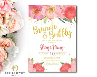 Brunch and Bubbly Bridal Shower Invitation,  Floral Bridal Shower Invitation, Champagne Brunch Invitation, Bridal Shower Invite, printable