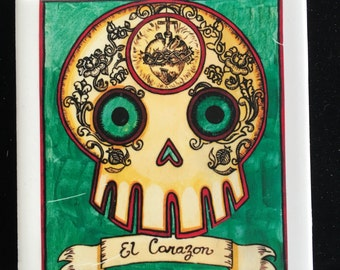 El Corazon (The Heart) Ceramic Tile Coaster -  Loteria and Day of the Dead skull Dia de los Muertos calavera designs