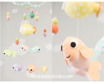 Under the Sea Baby Mobile, Baby Fish Mobile, Yellow Submarine, Ocean Theme Nursery Decor, Aquatic Decor