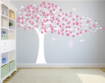 Nursery decals - Wall decal - cherry tree decal - tree decal - blowing tree decal  - Tree - Girl tree - Vinyl tree decal - Vinyl decals