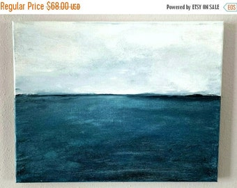 CLEARANCE SALE Original Acrylic Art Painting, Ocean Blue Seascape, Oregon Coast Painting, Gift for Him or Her, Fathers Day, Mothers Day, Bea