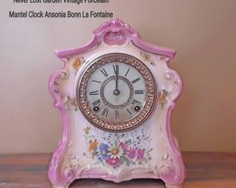 Ansonia Bonn Germany La Fontaine Mantel Clock Antique