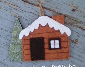 Rustic Log Cabin  Ornament