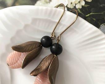 Modern Magnolia Earrings - foliage, leaves, nature inspired earrings, brass leaf earrings, blush beaded textured earrings for spring, summer