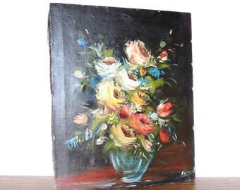 Vintage Floral Oil Painting Still Life Flower Pot Retro Black Canvas