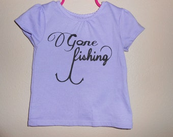 """NEW ITEM! - Toddler Tee with """"Gone Fishing"""" Hand Painted - Dark Lavender"""