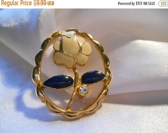50% OFF SALE Enamel Flower Brooch in Gold Tone Setting With Rhinestone Accent