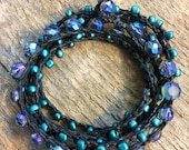 Deep of the Night: Versatile crocheted necklace / bracelet / belt / headband