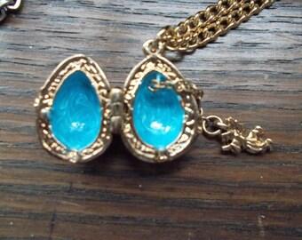 Enamel Faberge Egg Pendant Locket with angel