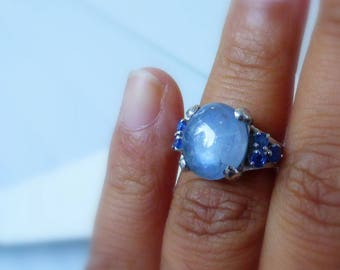Large 14k white gold Natural Sapphire cabochon with Ceylon sapphire Melee cocktail ring