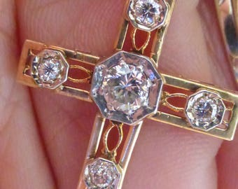 Stunning Antique 14k Large transitional cut diamond filigree cross Pendant (No chain)
