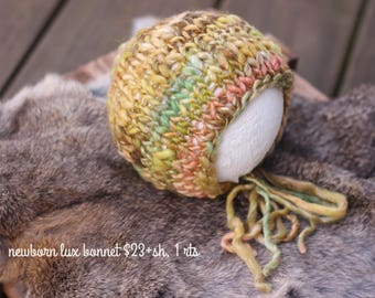 ready to ship newborn bonnet photography prop, golden brown tones with hints of green and mustard handspun knitted baby bonnet hat
