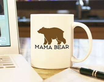 """Mothers Day Gift """"Mama Bear"""" Coffee Mug Cup, Gift Present, Wedding Anniversary Birth Mommy Mom Mama Momma Brown Bear Gift for Her From Kids"""