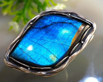 Spectrolite Ring Statement Stone Ring Sterling Silver Jewelry