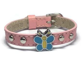 Little Girl's Bracelet - Kids Butterfly Bracelet - Children Slide Charm Leather Buckle Bracelet - Little Girl's Buckle Bracelet