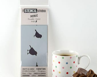 Birds Border Stencil - Stencil MiNiS from The Stencil Studio. Handy little reusable shabby chic stencils for home decor and crafts and more!