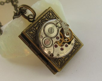 Steampunk book locket necklace  with watch  movement Brass Bronze locket Gift for Her, Birthday gift, Photo locket Picture locket necklace