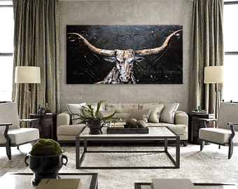 Large Wall Art bull Painting Oil Acrylic on Canvas Large Gift  Modern Home Decor animal black golden white