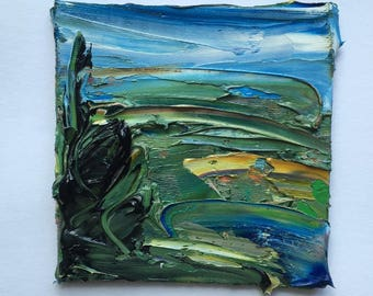 """Original 4"""" x 4"""" contemporary, impasto oil painting, fine art, visual art, landscape painting, abstract modern landscape, thick oil."""