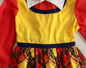 Vintage 1960s 70s Girls' Yellow Red Plaid Long Sleeve Dress 6 6X 7
