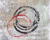 Enso III - February 2017, abstract painting on paper, 4 x 4, small art work